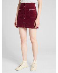 12085005ee Lyst - Gap High Rise Button-front Velvet Mini Skirt in Red