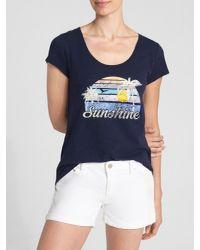 GAP Factory - Blue Graphic Scoop Neck T-shirt - Lyst