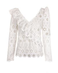 Self-Portrait Circle Floral Broderie Frill Top White
