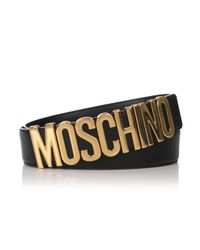 Moschino | Metallic Logo Belt Black/gold | Lyst