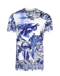 Versace | Tie And Dye Baroque Hand Painted T-shirt Blue/navy for Men | Lyst