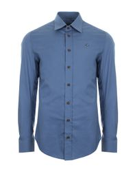 Vivienne Westwood | Basic Stretch Poplin Shirt With Brown Buttons Blue for Men | Lyst