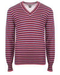 Vivienne Westwood   Blue Stripe Classic V-neck Jumper Sky/coral/navy Stripe for Men   Lyst