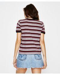 RVCA - Multicolor Rose Stripe Short Sleeve Ringer Bordeaux - Lyst