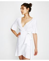 68bf493828 Alice In The Eve Cara Frill Linen Dress White in White - Lyst
