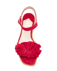 Paloma Barceló - Red Suede Ruffle Sandals - Lyst