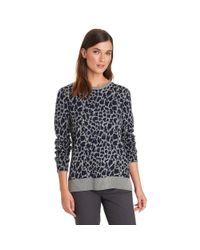 G.H. Bass & Co. - Gray Leopard Pullover Sweater - Lyst