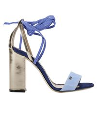 Elisabetta Franchi - Blue Heeled Sandals Shoes Women - Lyst