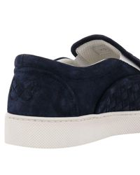 Bottega Veneta - Blue Dodger Intrecciato Slip-on Suede Sneakers for Men - Lyst