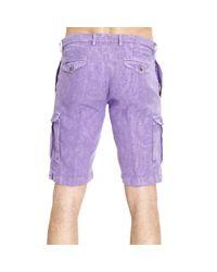 Etro - Purple Trouser Pants Short Cargo Linen for Men - Lyst