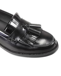 Tod's | Black Flat Shoes Sole Rubber Loafer Leather | Lyst