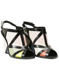 Roger Vivier | Black 100mm Skyscraper Bauhaus Leather Sandals | Lyst