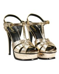 Saint Laurent - Metallic Heeled Sandals Shoes Woman - Lyst