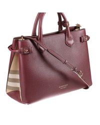 Burberry Purple The Banner Checked Cotton And Leather Tote Bag