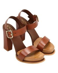 Tod's - Brown Heeled Sandals Shoes Women - Lyst