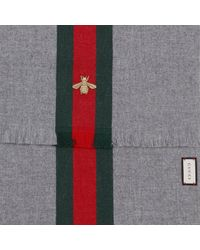 Gucci - Gray Scarf 37 X 180 Cm In Cashmere Wool With Web And Bee Pattern - Lyst