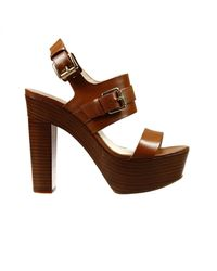 MICHAEL Michael Kors - Brown Shoes Beatrice Heel 9+2 Sandal Leather With Buckle - Lyst