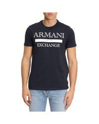 Armani Exchange - Blue Rmni Exchnge Grphic Crew Neck T-shirt for Men - Lyst