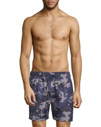 Slate & Stone - Blue Camouflage-print Swim Shorts for Men - Lyst