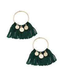 Ettika Jewelry - Green Coin & Fringe Statement Earrings - Lyst