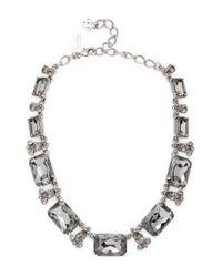 Oscar de la Renta - Metallic Gold Octagon Stone Necklace - Lyst