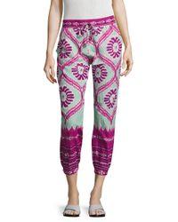 Calypso St. Barth - Pink Dijana Cotton Printed Crop Pant - Lyst