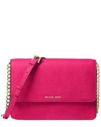 a4d5f16c4e87 Lyst - MICHAEL Michael Kors Daniela Large Leather Crossbody in Pink