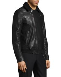 The Kooples - Black Plush Collar Leather Jacket for Men - Lyst