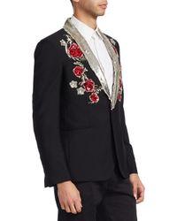Roberto Cavalli - Black Giacca Ricamo Slim Wool Tuxedo for Men - Lyst