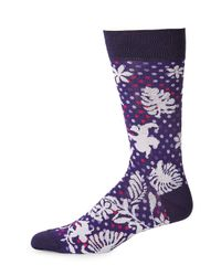 Bugatchi - Purple Patterned Crew Socks for Men - Lyst