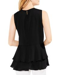 Vince Camuto - Multicolor Tiered Ruffle Hem Hammer Satin Blouse - Lyst