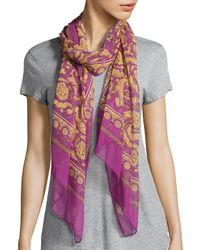 1ae47d19 Lyst - Versace Stola Printed Silk Scarf in Pink