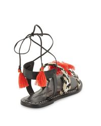 Bernardo | Black Tasseled Lace-up Sandals | Lyst