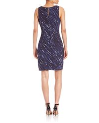 MILLY - Blue Painterly Shift Dress - Lyst