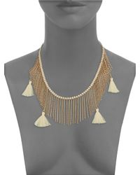 Panacea - Metallic Beaded Fringed Necklace - Lyst