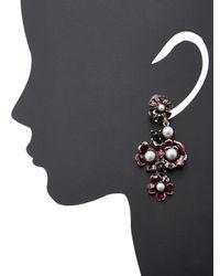 Oscar de la Renta - Red Flower Pearl Long Drop Earrings - Lyst
