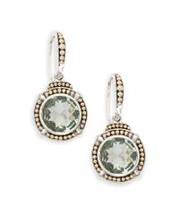 Effy - Green Amethyst, Sterling Silver & 18k Yellow Gold Drop Earrings - Lyst