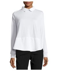French Connection   White Long-sleeve Colorblock Top   Lyst