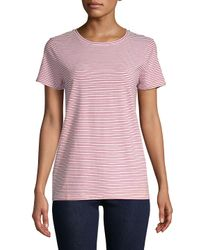 Saks Fifth Avenue - Red Stripe Crewneck Tee - Lyst