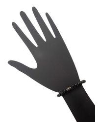 Bavna - Black Spinel Stretch Bracelet With Black Enamal And Diamond Bead - Lyst