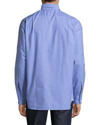Psycho Bunny - Blue Printed Cotton Sportshirt for Men - Lyst