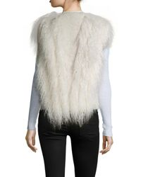 Helmut Lang - White Cotton Fur Fringe Distressed Vest - Lyst