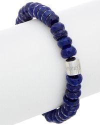 Anzie - Blue Boheme Silver Lapis Stretch Bracelet - Lyst