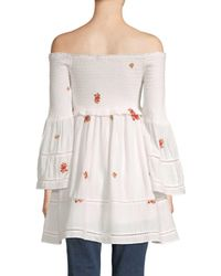 Free People White Counting Daisies Embroidered Mini