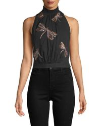 Free People Black Sequin Embroidery Crop Top