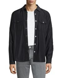 7 For All Mankind - Black Snap Button Shirt for Men - Lyst