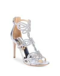 Badgley Mischka - Metallic Teri Embellished Leather Stiletto Sandals - Lyst