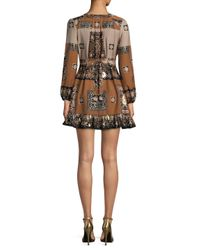 Raga - Brown Sonder Plunge Printed Mini - Lyst