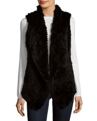 Saks Fifth Avenue - Black Asymmetrical Rabbit Fur Vest - Lyst