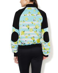 Icb - Multicolor Silk Striped Floral Bomber Jacket - Lyst